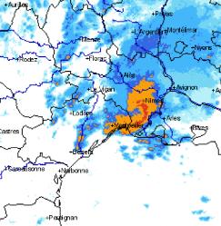 Le LEWP sur l'image radar du 23 août 2015 à 15h30