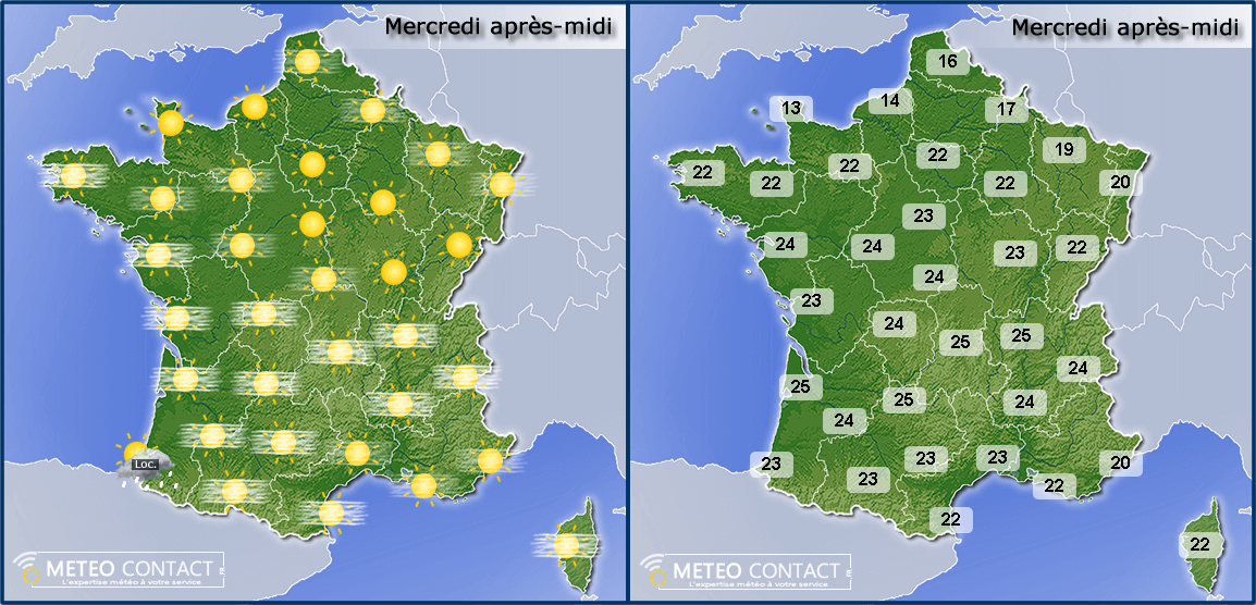 Temps prévu le 22 avril 2015 en France