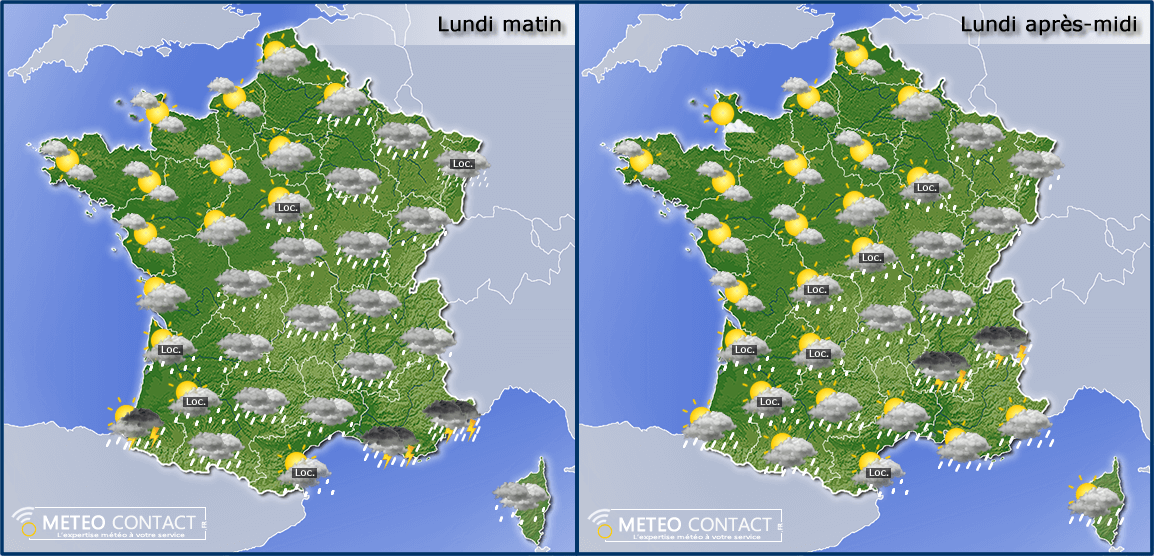 Temps prévu le lundi 27 avril 2015 en France