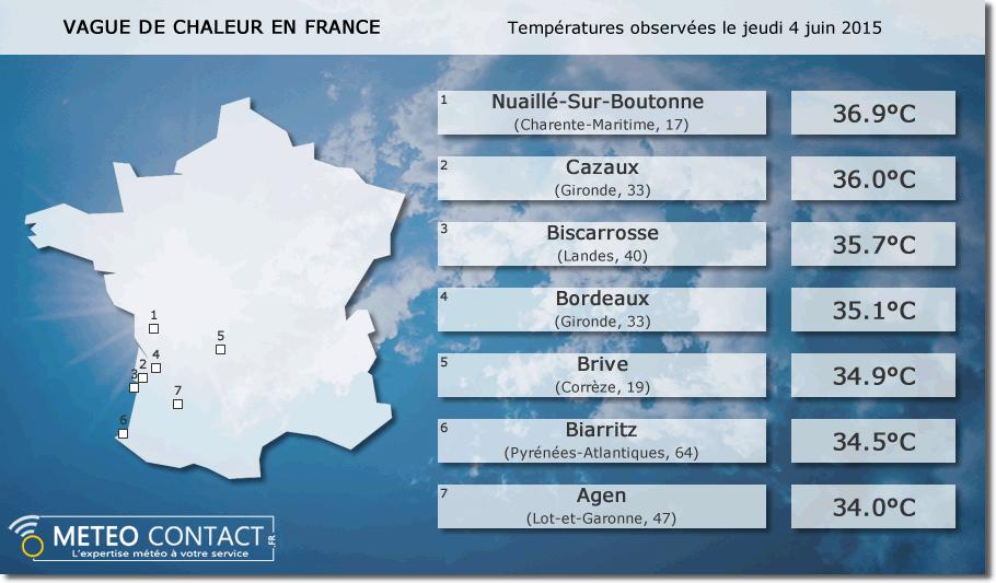 Bilan des températures observées le jeudi 4 juin 2015