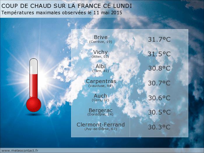 Bilan des températures observées en France le lundi 11 mai 2015