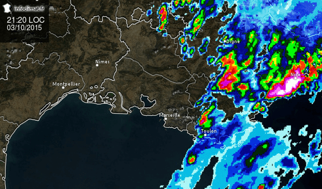 Image radar du 3 octobre 2015 à 21h20 locale