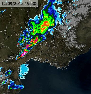Image radar du 12 septembre 2015 à 19h30 locale