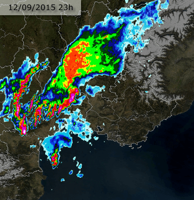 Image radar du 12 septembre 2015 à 23h00 locale