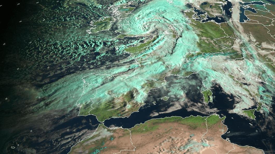Vue de satellite (Eumetsat), la dépression Jeanne (Katie pour les anglais) responsable des vents violents sur le nord de la France.