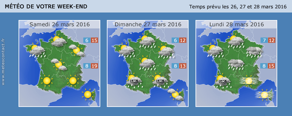 Prévisions météo ppur le week-end de Pâques 2016