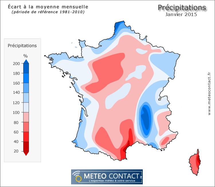 Écart à la normale des précipitations en janvier 2015