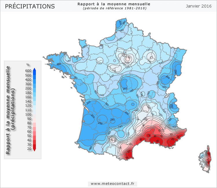 Écart par rapport à la normale en janvier 2016 (précipitations)