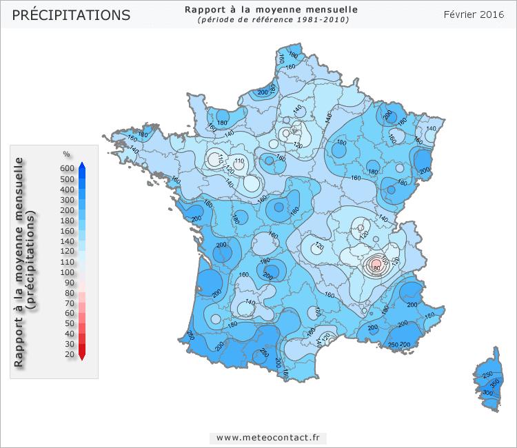 Écart par rapport à la normale en février 2016 (précipitations)