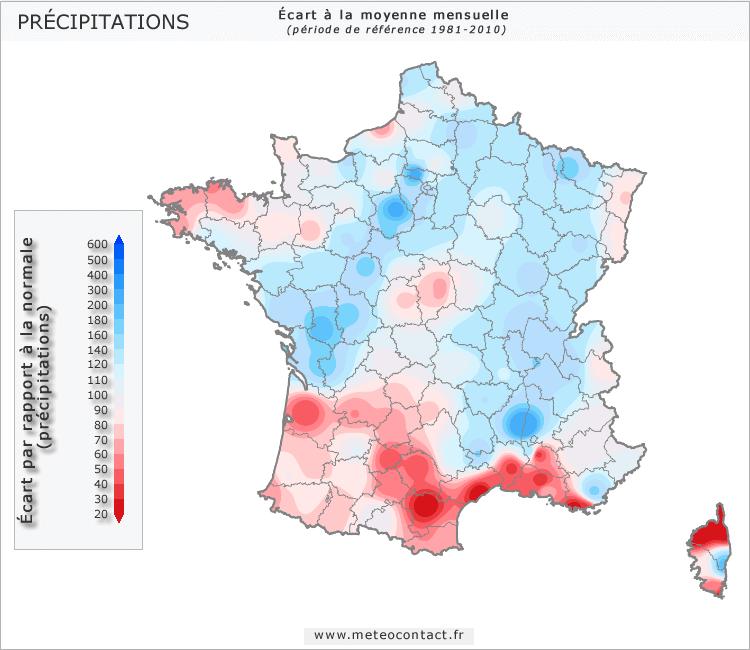 Écart par rapport à la normale en septembre 2015 (précipitations)