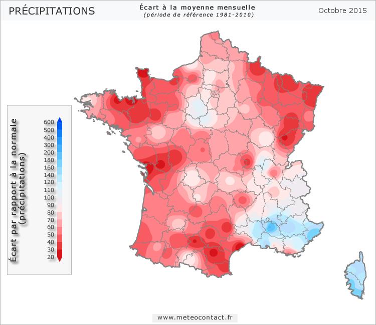Écart par rapport à la normale en octobre 2015 (précipitations)