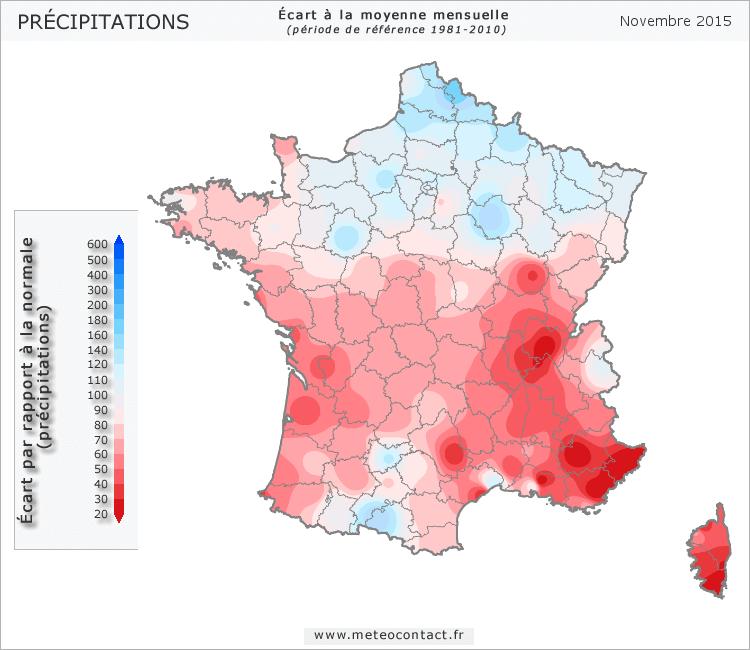Écart par rapport à la normale en novembre 2015 (précipitations)