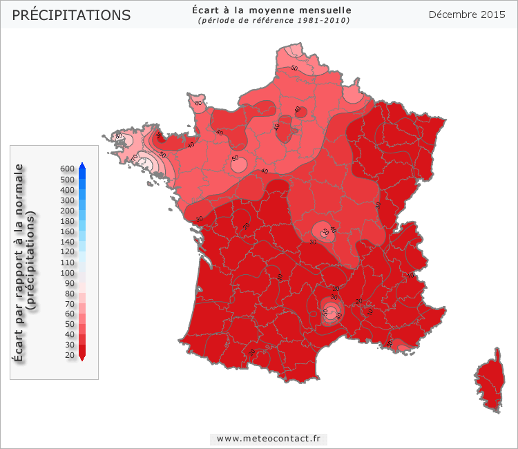Écart par rapport à la normale en décembre 2015 (précipitations)