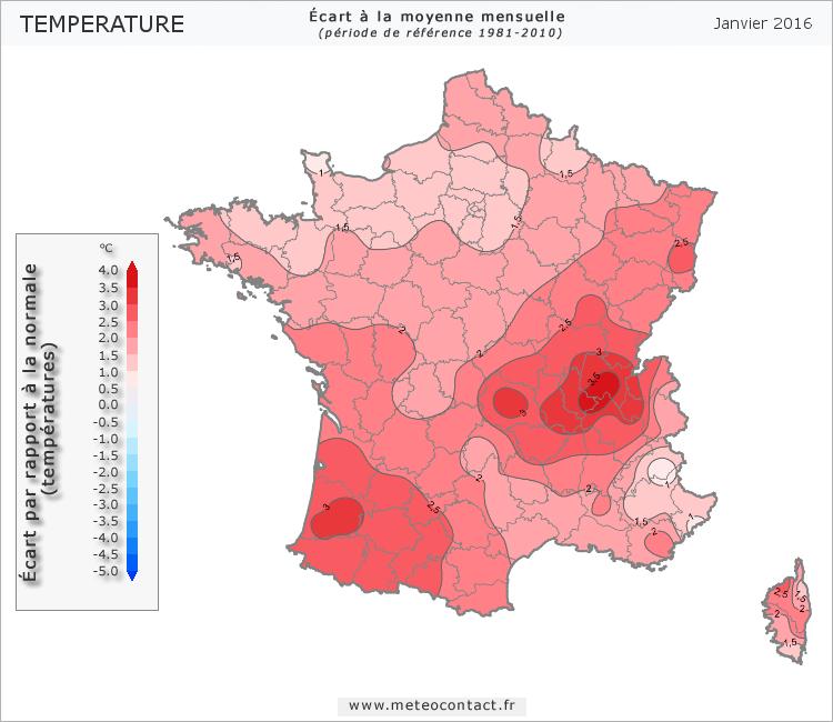 Écart par rapport à la normale en janvier 2016 (température)