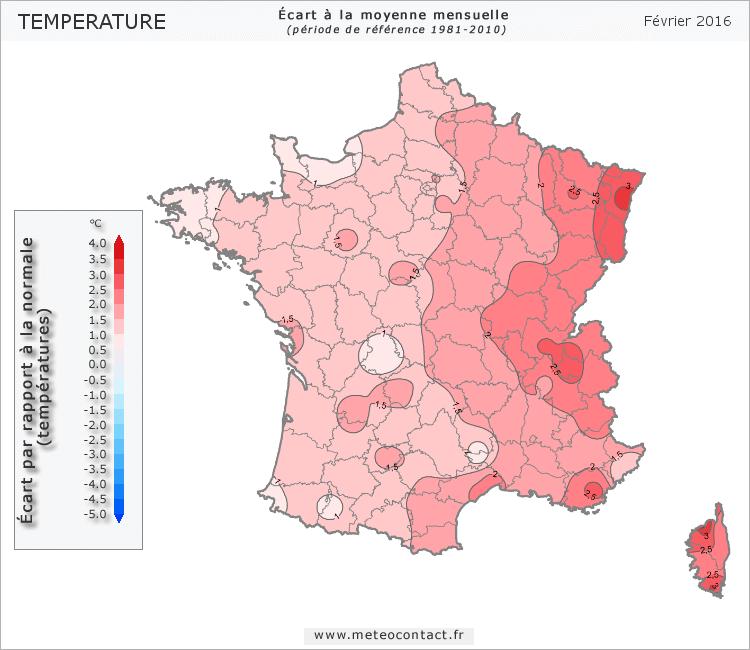 Écart par rapport à la normale en février 2016 (température)