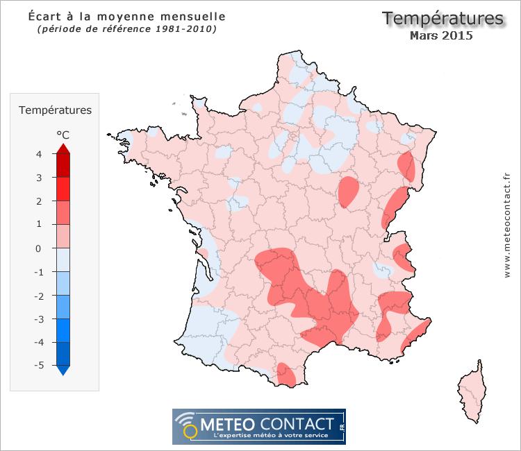 Écart à la normale des températures en mars 2015