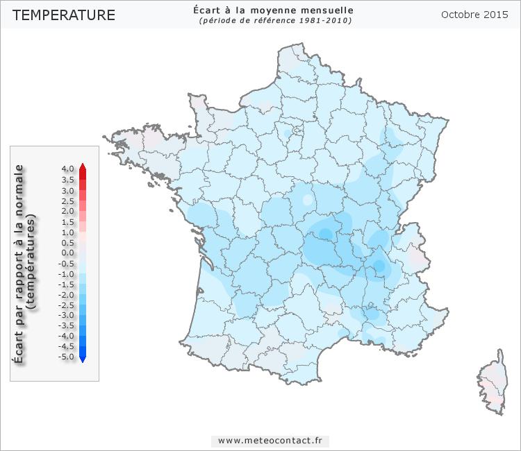 Écart par rapport à la normale en octobre 2015 (température)