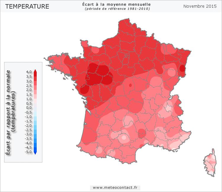 Écart par rapport à la normale en novembre 2015 (température)
