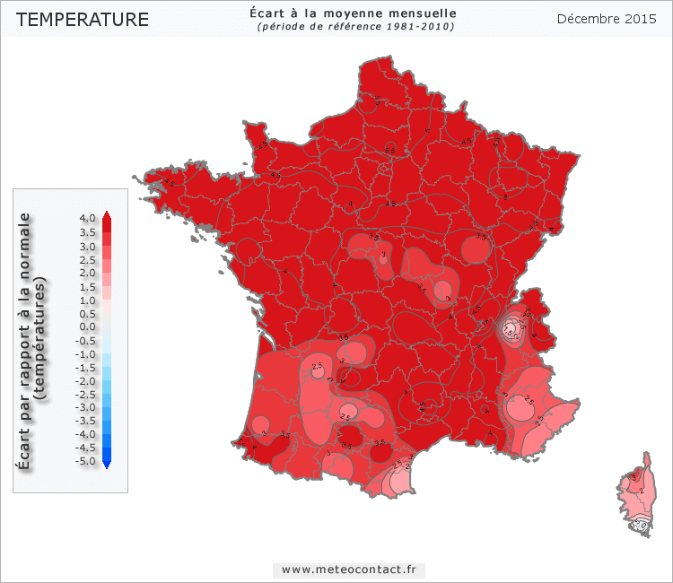 Écart par rapport à la normale en décembre 2015 (température)