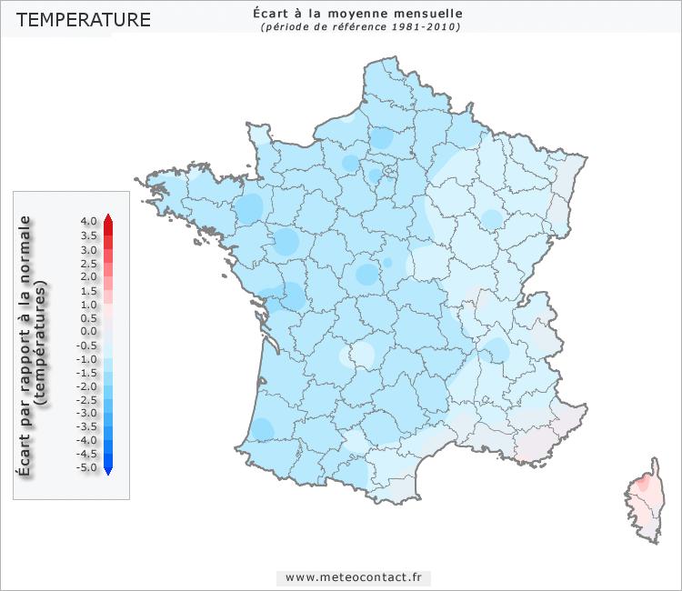 Écart par rapport à la normale en septembre 2015 (température)