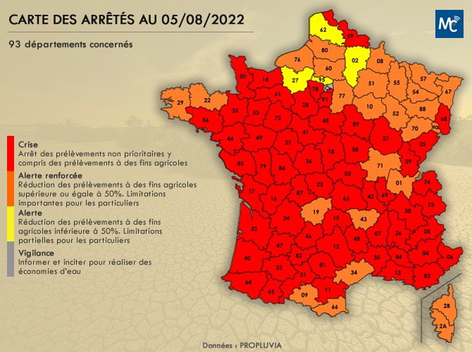 Carte des restrictions des usages de l'eau