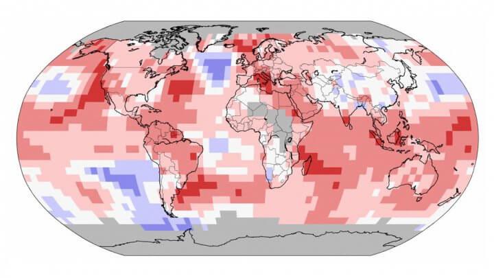 Anomalies de températures dans le Monde en 2014