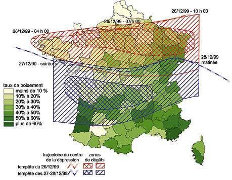 Impact des deux tempêtes de 1999 à l'échelle forestière